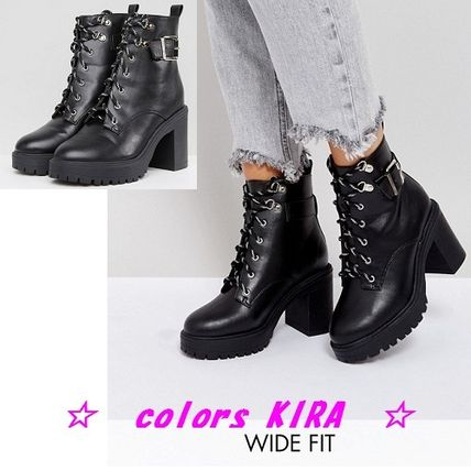 ASOS EDGE Wide Fit Chunky Heeled Ankle Boots♪