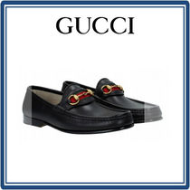 【GUCCI】 ウェブ付き LEATHER LOAFERS - Black ( 国内発送)