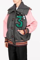 Embroidered Oversized Double Wool Jacket
