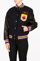Wool Cloth  Bomber with Patch Jacket