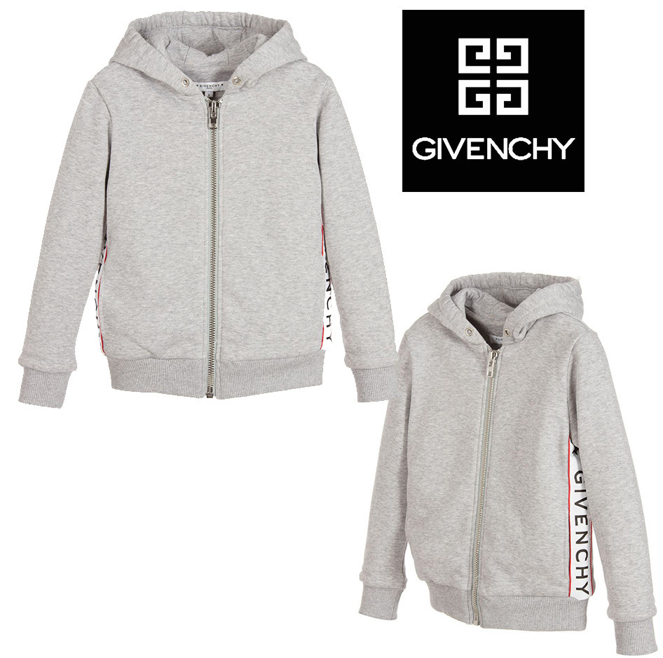 17AW GIVENCHY 大人もOK 8-12歳 サイド ロゴ パーカー グレー