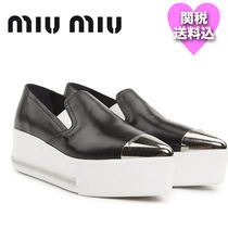 関税送料込★MIUMIU Metal-trimmed leather platform slip-on