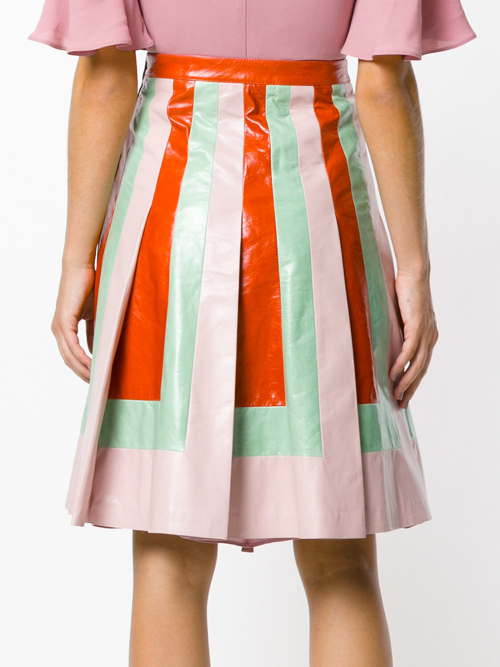 17-18AW V787 LOOK23 COLOR-BLOCK PLEATED LEATHER SKIRT