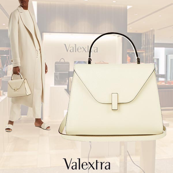 【17AW】Valextra/Isideミディアムグレインレザーバッグ Ivory
