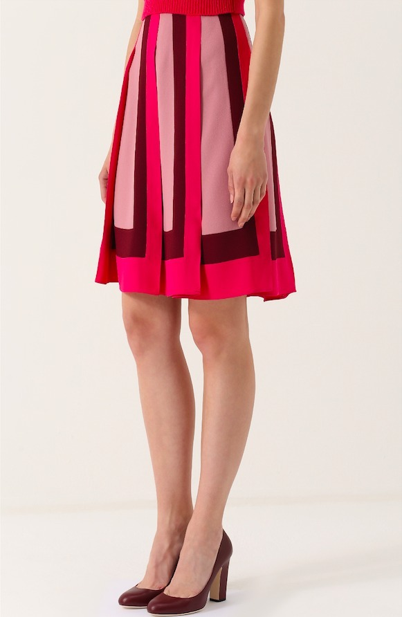 17-18AW V791 COLOR-BLOCK PLEATED SKIRT