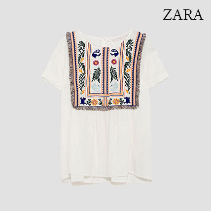 ●ZARA●秋新作♪TOP WITH EMBROIDERED LEAVES