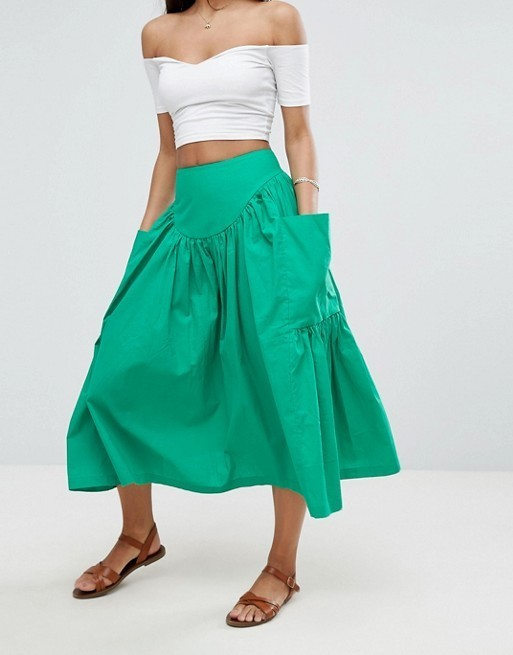 ★日本未入荷★大人気!ASOS/Midi Skirt with Oversize Pockets