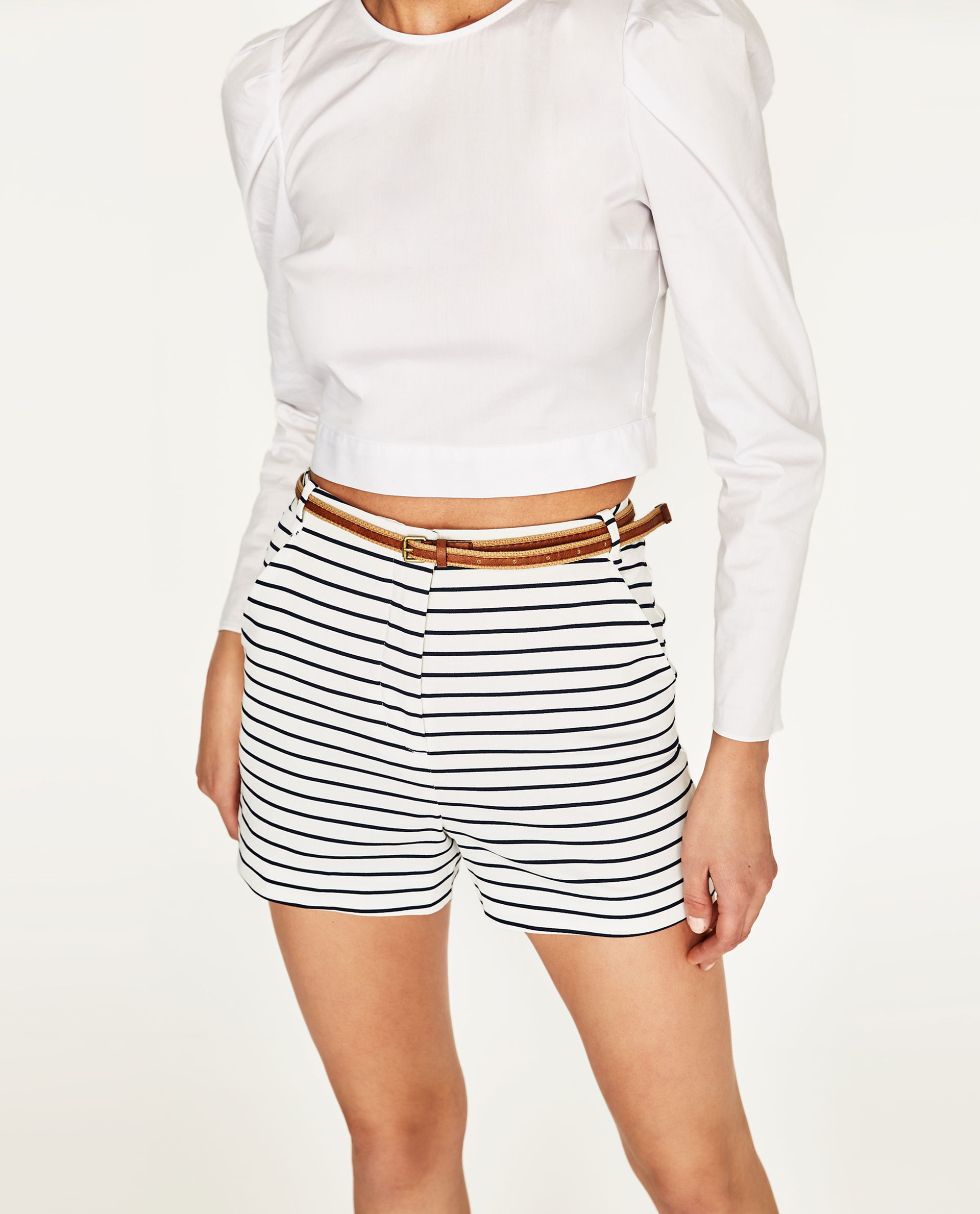 ●ZARA●秋新作♪STRIPED SHORTS WITH BELT