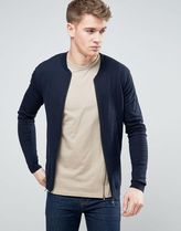 ASOS(エイソス) アウターその他 関税・送料込み ASOS Knitted Muscle Fit Bomber In Navy 先取り