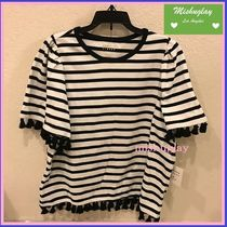 【kate spade】SALE★タッセル付♪stripe flutter sleeve top★