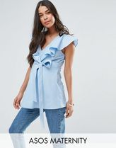 ASOS(エイソス) トップス 大人気!Maternity Cotton Blouse with Ruffl ASOS マタニティー