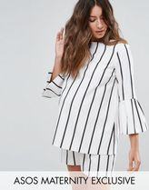 ASOS(エイソス) トップス 大人気!Maternity Stripe Top with Frill He ASOS マタニティー
