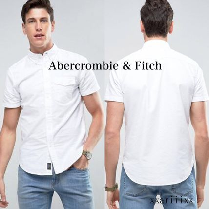 Abercrombie & Fitch シャツ ◆人気◆ Abercrombie & Fitch 半袖 ロゴ スリムシャツ ホワイト