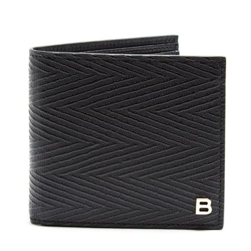 【BALENCIAGA】 バレンシアガ Chevron striped bi-fold leather