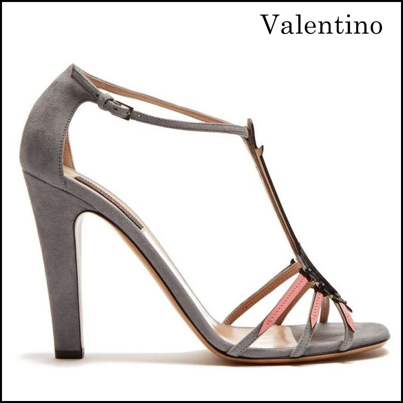 【VALENTINO】Love Blade suede and patent-leather sandals