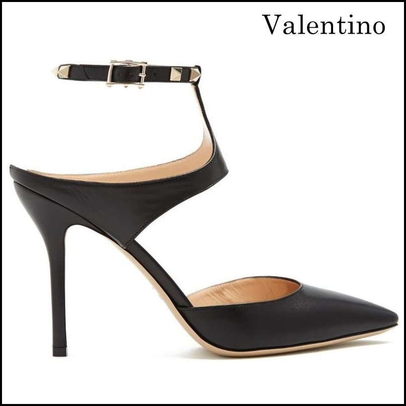 【VALENTINO】ヴァレンティノ Rockstud point-toe leather