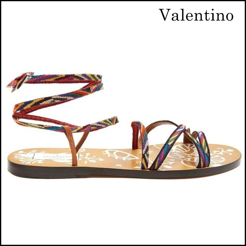 【VALENTINO】 Santeria Native Couture leather sandals