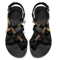 ◆CHRISTIAN DIOR  J'adior Flat Black Sandals◆