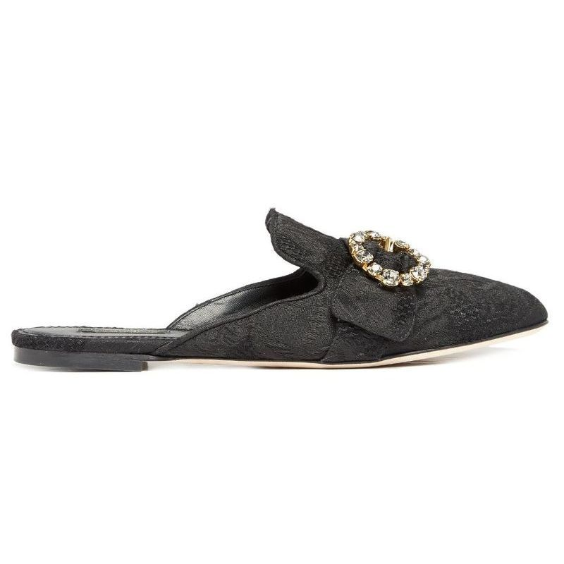 【D&G】Crystal-embellished brocade backless loafers