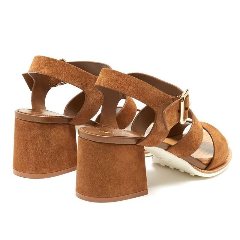 【TOD'S】 トッズ Suede block-heel sandals
