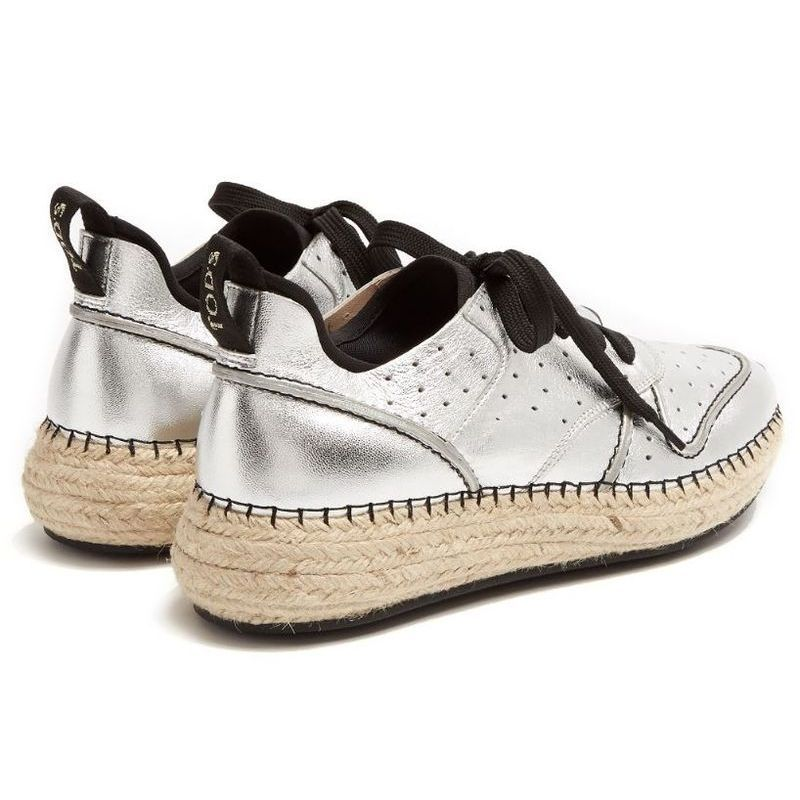 【TOD'S】 トッズ Leather and espadrille-sole trainers