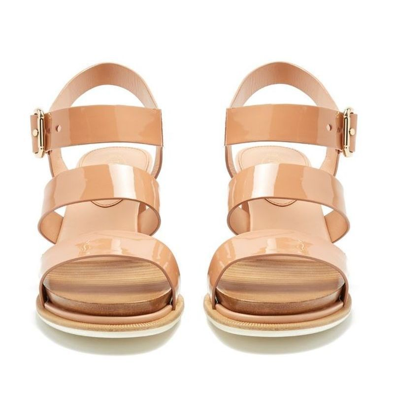 【TOD'S】トッズ Patent-leather block-heel sandals