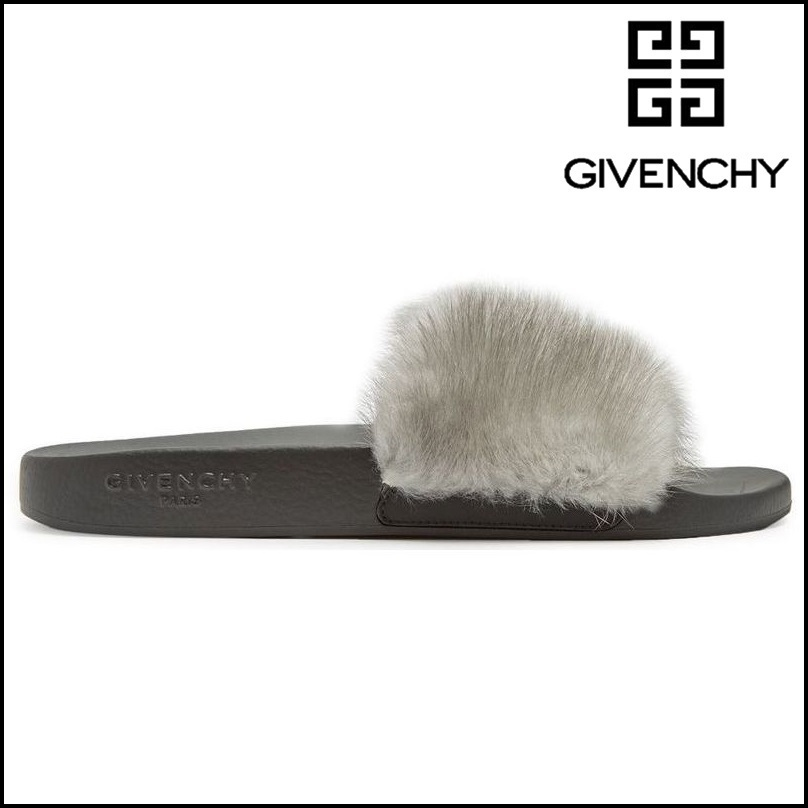 【GIVENCHY】 ジバンシィ Fur and rubber slides