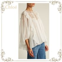 【17AW】★Chloe★Lace-yoke butterfly-hem silk-crepon tops