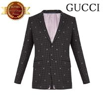 GUCCI グッチ Bee-embroidered single-breasted wool suit