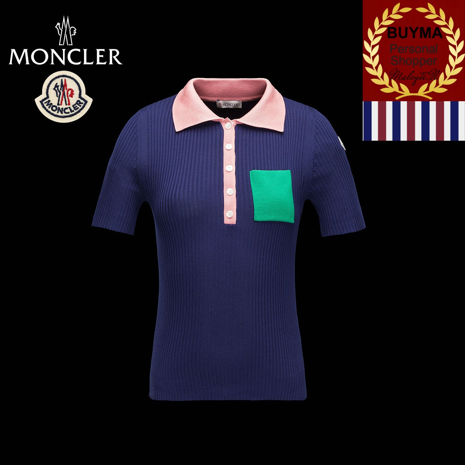 MONCLER POLO シルク リブ編 ポロシャツ ダークブルー/ピンク/緑