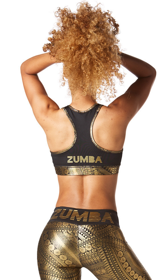 新作♪ZumbaズンバAll Night Metallic V Bra-Gold