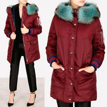 MM265 FUR TRIMMED DOWN COAT WITH APPLIQUE