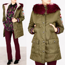 MM267 FUR TRIMMED DOWN COAT WITH APPLIQUE