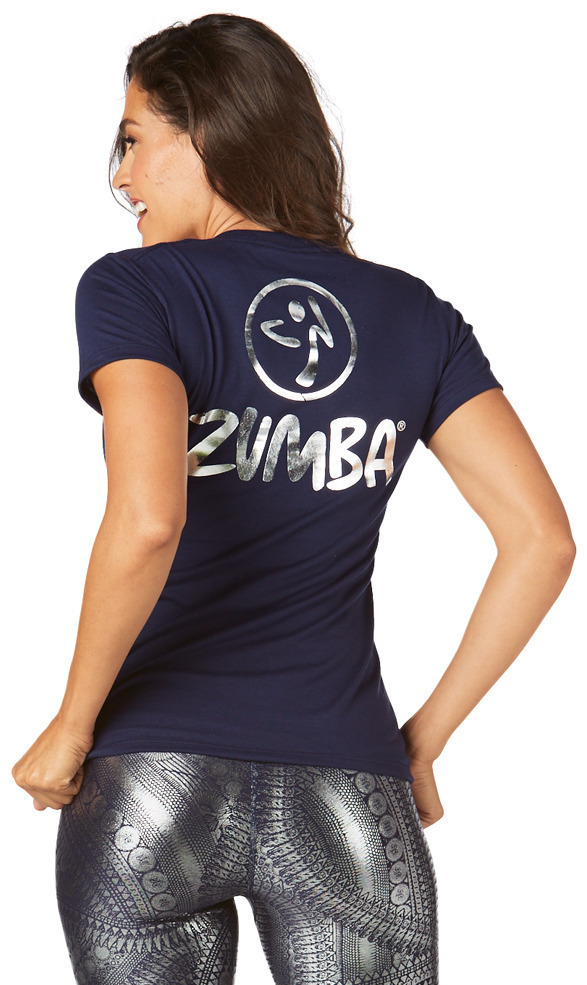新作♪ZumbaズンバZumba All Night V Neck Tee- Indigo
