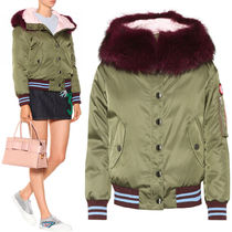 MM268 FUR TRIMMED DOWN JACKET WITH APPLIQUE