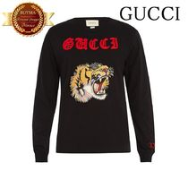 GUCCI グッチ Tiger-applique long-sleeved cotton T-shirt