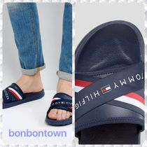 【送関込】Tommy/Logo Slider Flip Flops Cross Over/Navy