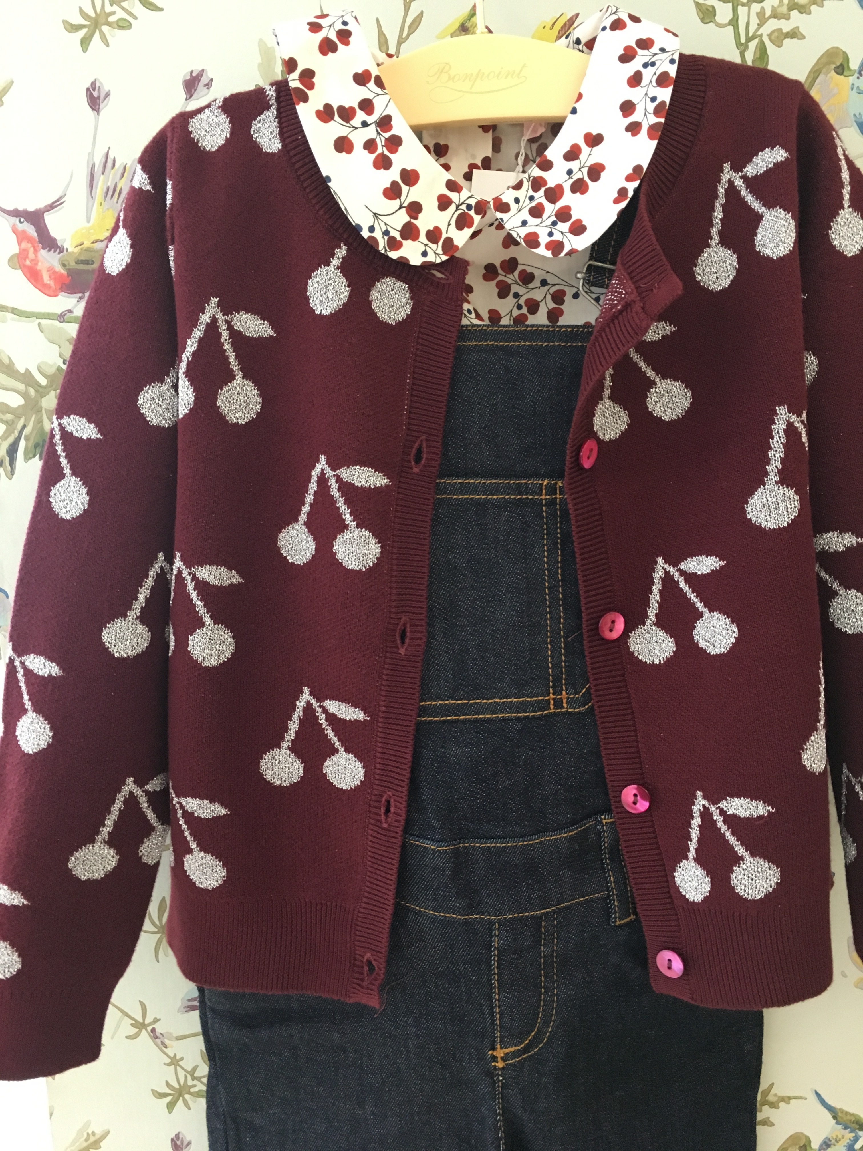 AW17☆FILLE カーディガン チェリー ボルドー 3.4.6A