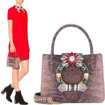 MM281 JEWELED HANDBAG IN LIZARD EFFECT LEAHER