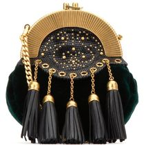 MM287 VELVET SHOULDER BAG WITH TASSEL
