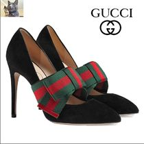 【GUCCI】removable Web bow スエード パンプス