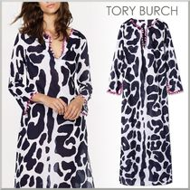 17-18AW★Tory Burch レオパ柄 マキシ カフタン CLOUDED LEOPARD
