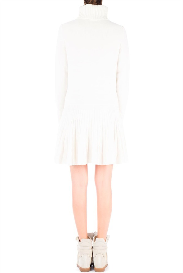 17-18AW C222 TURTLENECK CASHMERE DRESS WITH PLEATED SKIRT