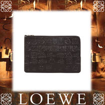 17AW新作★LOEWE★Signature Double Flat Pouch Black/Rouge