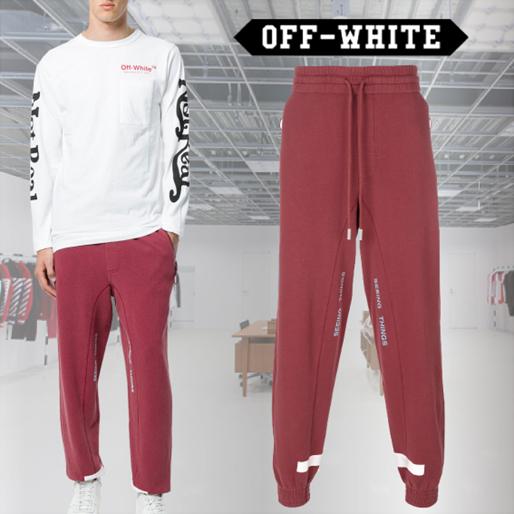 【17AW】Off-White / Seeing Things スウェットパンツ / レッド