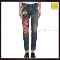 【グッチ】Cotton Denim Jeans With Dragon Embroidery デニム