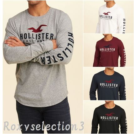【Hollister】Crew Graphic Tee 袖ロゴ 長袖ロゴTシャツ