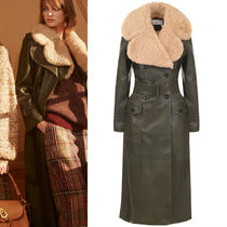 17-18AW C238 LOOK22 MOUTON TRIMMED LEATHER TRENCH COAT