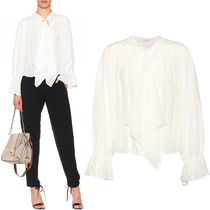 17-18AW C250 TIE-NECK GATHERED SILK CREPE BLOUSE