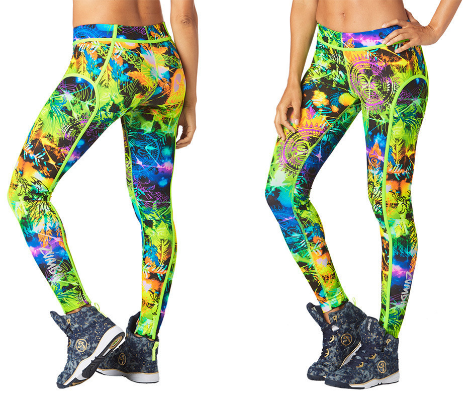 新作♪ZUMBAズンバRock Out Piped Leggings-Get in Lime